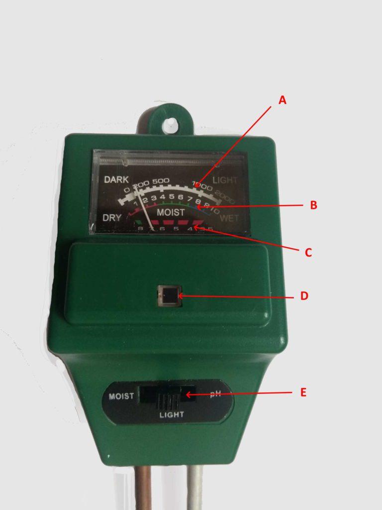 Измеритель кислотности почвы стрелочный 3-в-1. Устройство прибора