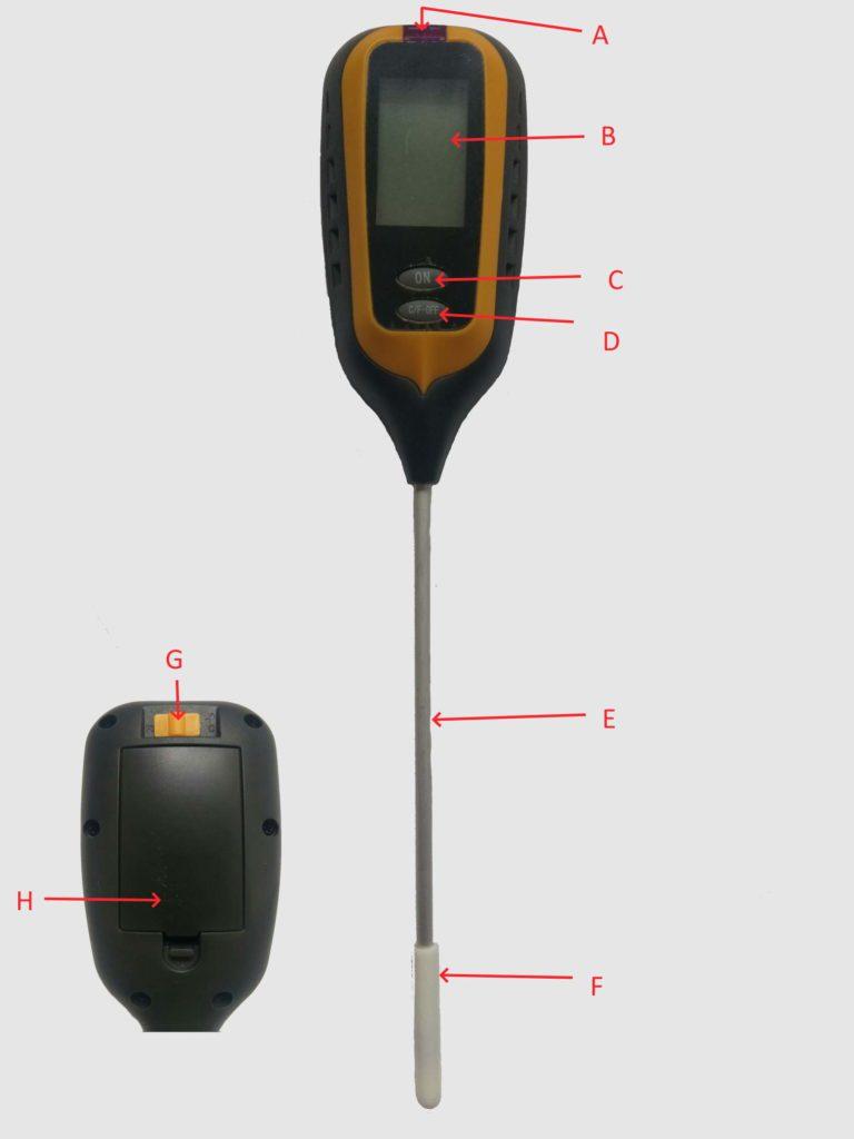 Измеритель кислотности почвы цифровой 4-в-1 . Устройство прибора